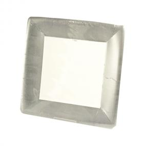 Silver Square Paper Dinner Plates by Caspari