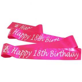 Hot Pink Satin 18th Birthday Banner