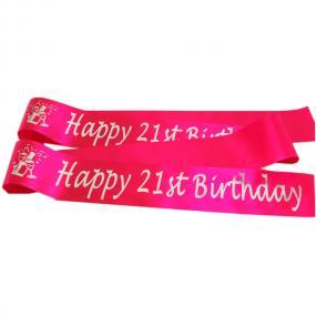 Hot Pink 21st Birthday Satin Banner