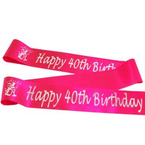 Hot Pink 40th Birthday Satin Banner - Champagne Bottle Design