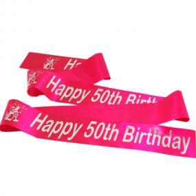 Hot Pink 50th Birthday Satin Banner - Champagne Bottle Design