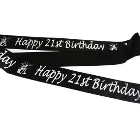 Black and Silver 21st Birthday Satin Banner - Champagne