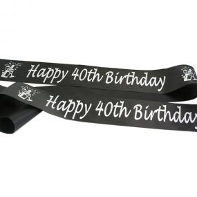 Black and Silver 40th Birthday Satin Banner - Champagne