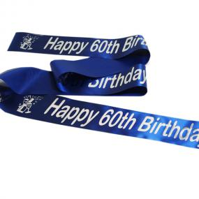 Sapphire Blue 60th Birthday Satin Banner - Champagne