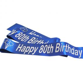 Sapphire Blue 80th Birthday Satin Banner - Balloons