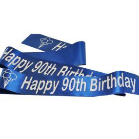 Sapphire Blue 90th Birthday Satin Banner - Balloons