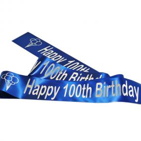 Sapphire Blue 100th Birthday Satin Banner - Balloons