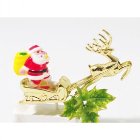 Santa and Gold Sleigh Pick Christmas Cake Decoration