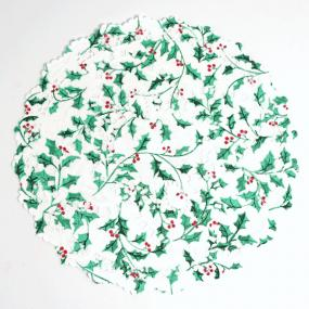 Christmas Doilies With Holly Print