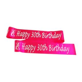Hot Pink 30th Birthday Satin Banner - Champagne