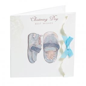 Blue Booties Christening Card by Cavania