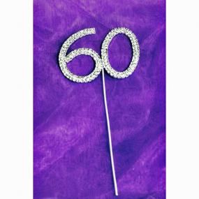 Diamante 60 On Silver Stem - 60th Birthday Cake Decoration