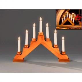 Oak Stained Christmas Candle Arch With Candle Holders