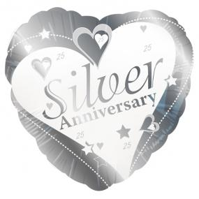 25th Silver Wedding Anniversary Foil Balloon - Hearts and Stars
