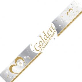 50th Golden Wedding Anniversary Banner - Hearts and Stars