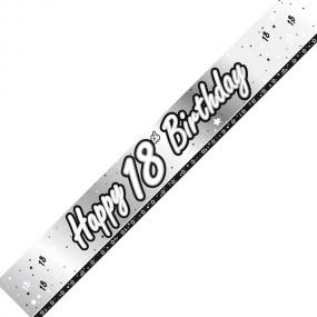 18th Birthday Banner - Black and Silver