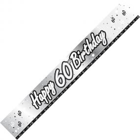 60th Birthday Banner - Black and Silver
