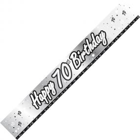 70th Birthday Banner - Black and Silver
