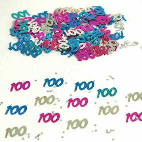 100th Birthday Table Confetti - Jewel Colours