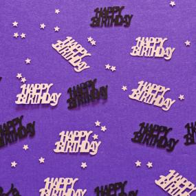 Black and Silver Happy Birthday Table Confetti