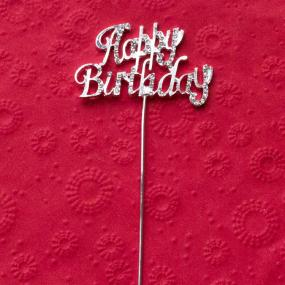 Diamante Happy Birthday Cake Decoration