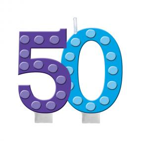 50th Birthday Cake Candle Bright & Bold