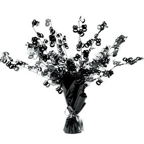 80th Birthday Table Centrepiece - Black and Silver