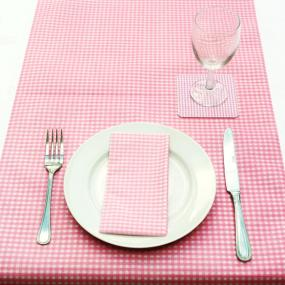 Pale Pink Gingham Paper Table Runner