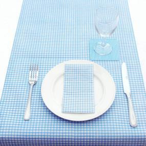 Pale Blue Gingham Paper Table Runner