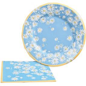Pale Blue Daisy Paper Side Plates by Caspari