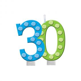 30th Birthday Cake Candle Bright & Bold