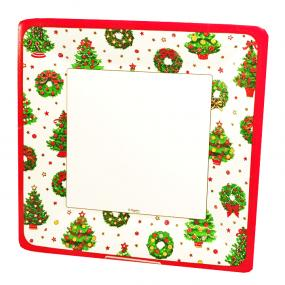Caspari Deck The Halls Christmas Square Side Plates