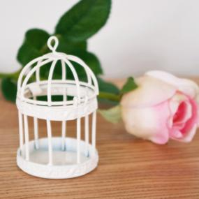 Small Ivory Bird Cage Table Decoration