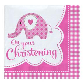 Pink Christening Napkins - Elephant