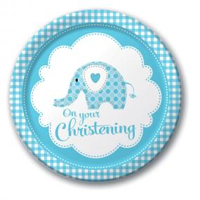 Blue Christening Paper Plates - Elephant
