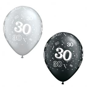 30th Birthday Black and Silver Latex Balloons x 25