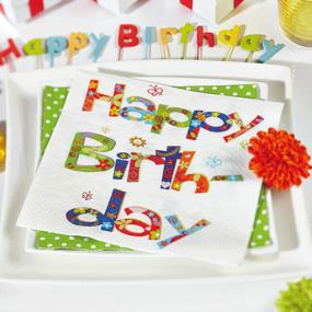 Multi Coloured Happy Birthday Napkins - Luncheon Size