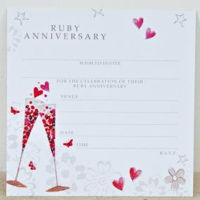 Ruby Anniversary Invitations - Champagne by Hammond Gower