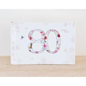 Vintage Style 80th Birthday Guest Book