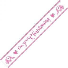 Pink Christening Banner - Elephant