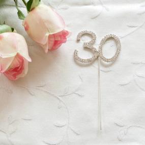 30th Pearl Wedding Anniversary Diamante Cake Decoration