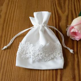 Satin Ivory Favour Bag With Lace Trim