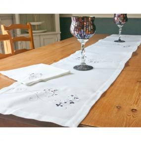 Silver and Purple Christmas Table Runner - Sparkle Berry
