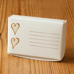 Ivory and Gold Cake Boxes - Embossed Hearts x 8
