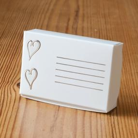 White and Silver Cake Boxes - Embossed Hearts x 8