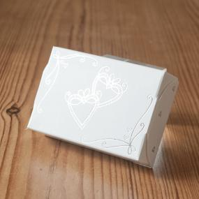 Silver and White Heart Cake Boxes x 8