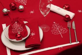 Red Christmas Tablecloth 33 x 33 Inches By Peggy Wilkins - Sugar Pine