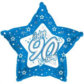 90th Birthday Blue Star Foil Balloon