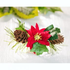 Poinsetta and Ivy Spray Christmas Cake Decoration