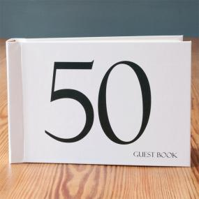 Black and White 50th Birthday Guest Book